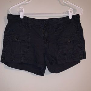 Black cargo-esk shorts